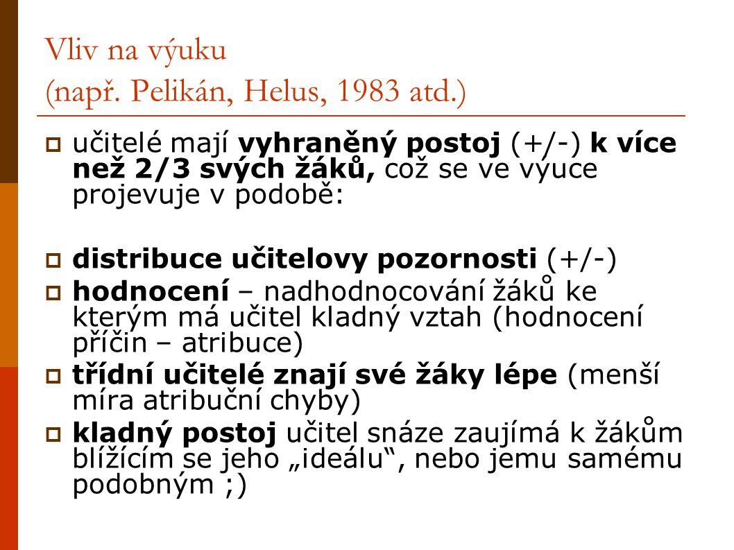 Vliv na výuku (např. Pelikán, Helus, 1983 atd.)