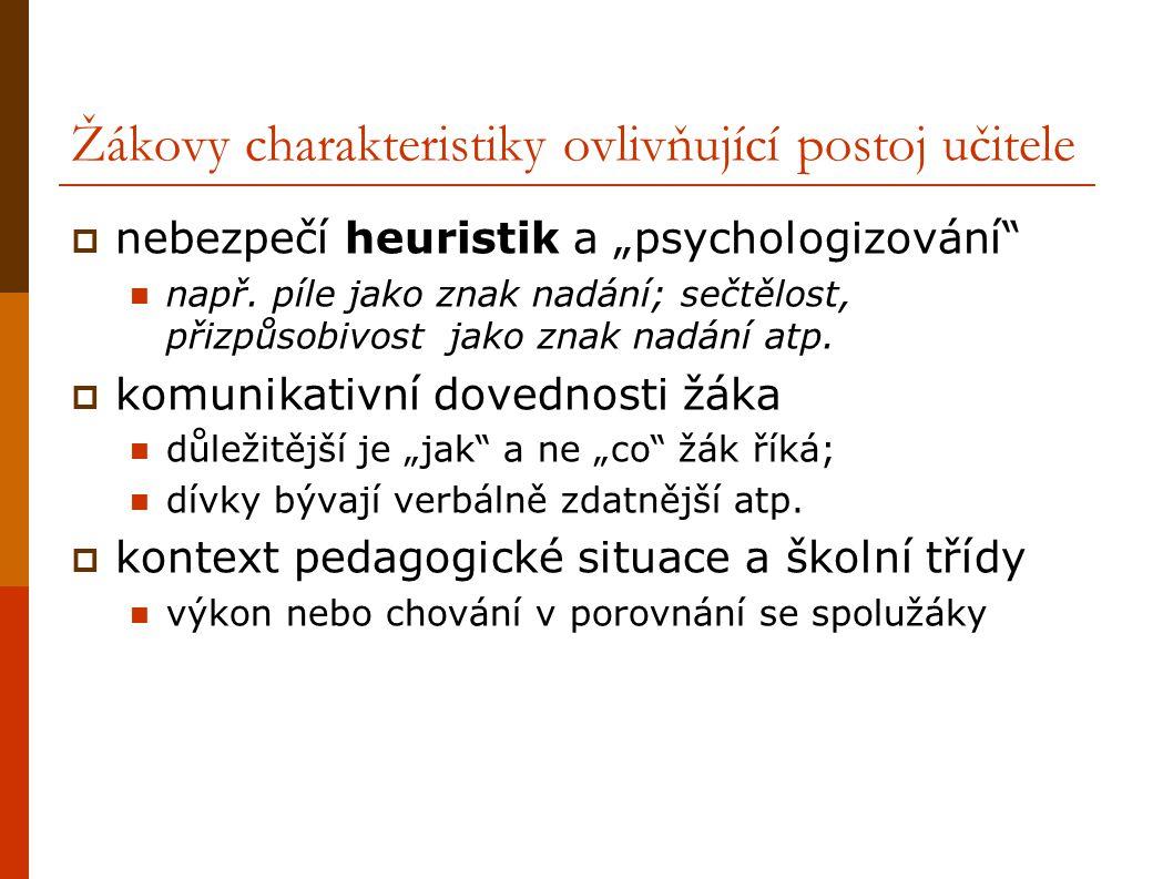 Žákovy charakteristiky ovlivňující postoj učitele