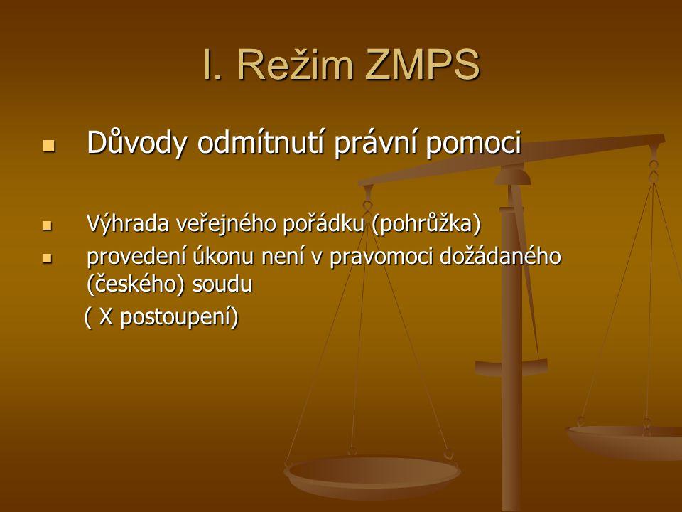 I. Režim ZMPS Důvody odmítnutí právní pomoci
