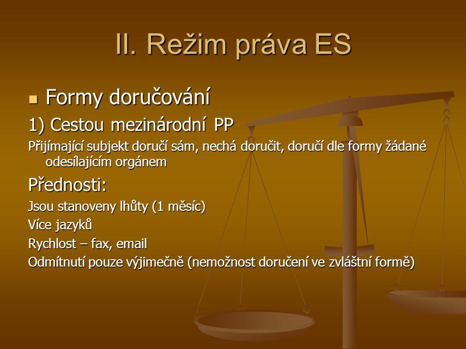 II. Režim práva ES Formy doručování 1) Cestou mezinárodní PP