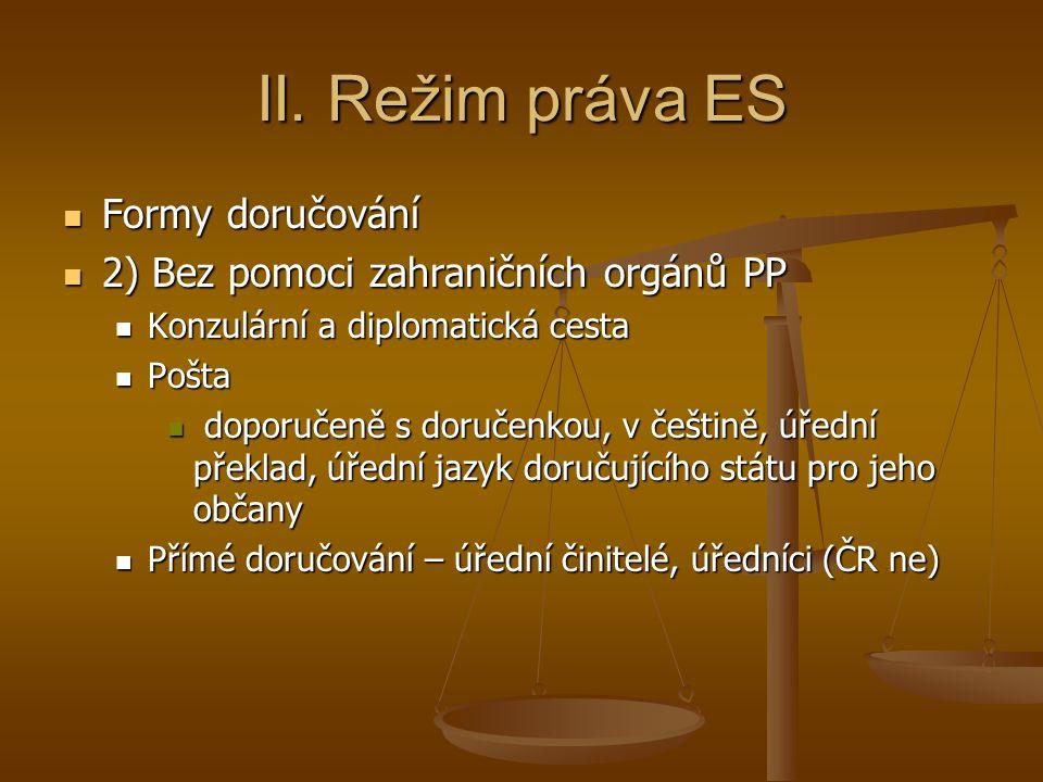 II. Režim práva ES Formy doručování
