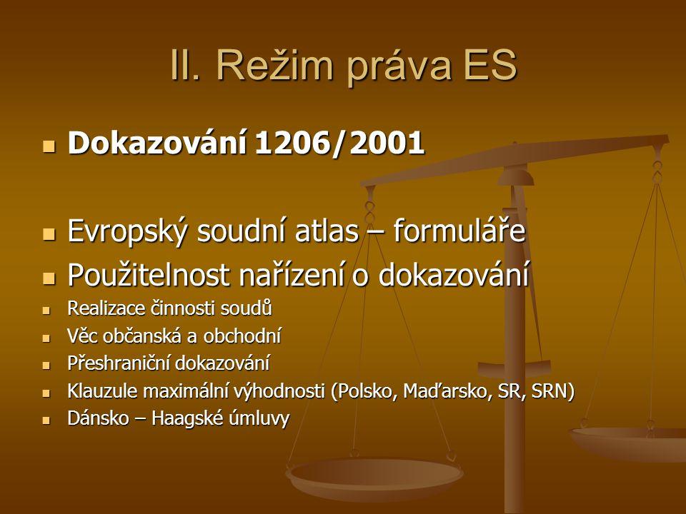 II. Režim práva ES Dokazování 1206/2001
