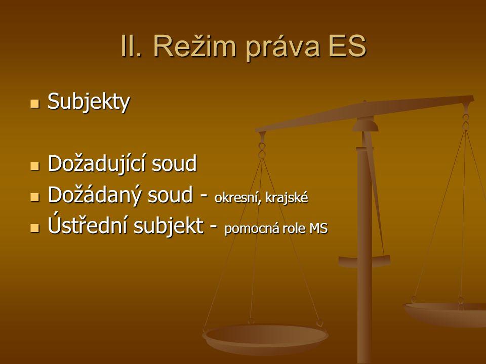 II. Režim práva ES Subjekty Dožadující soud