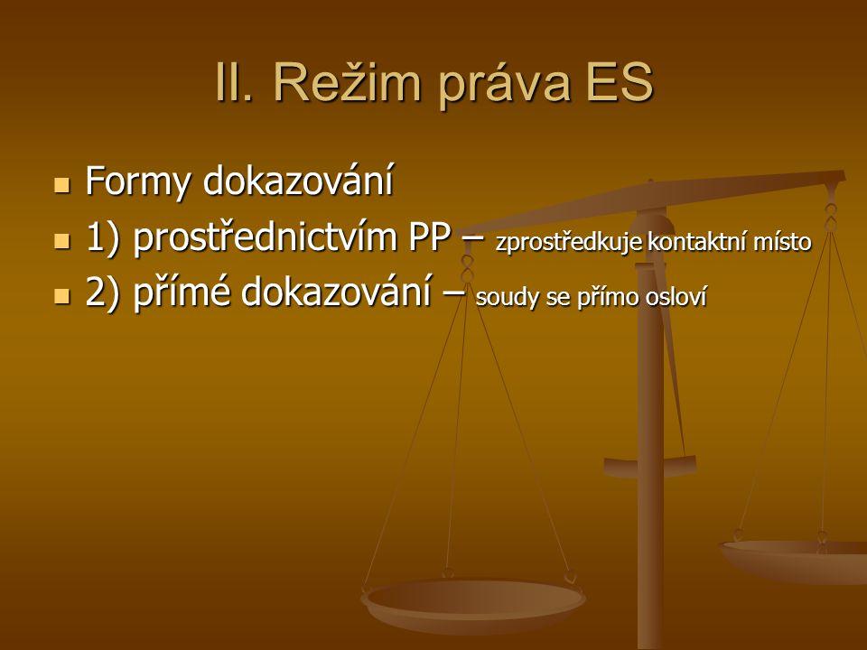 II. Režim práva ES Formy dokazování