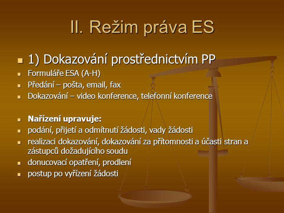 II. Režim práva ES 1) Dokazování prostřednictvím PP