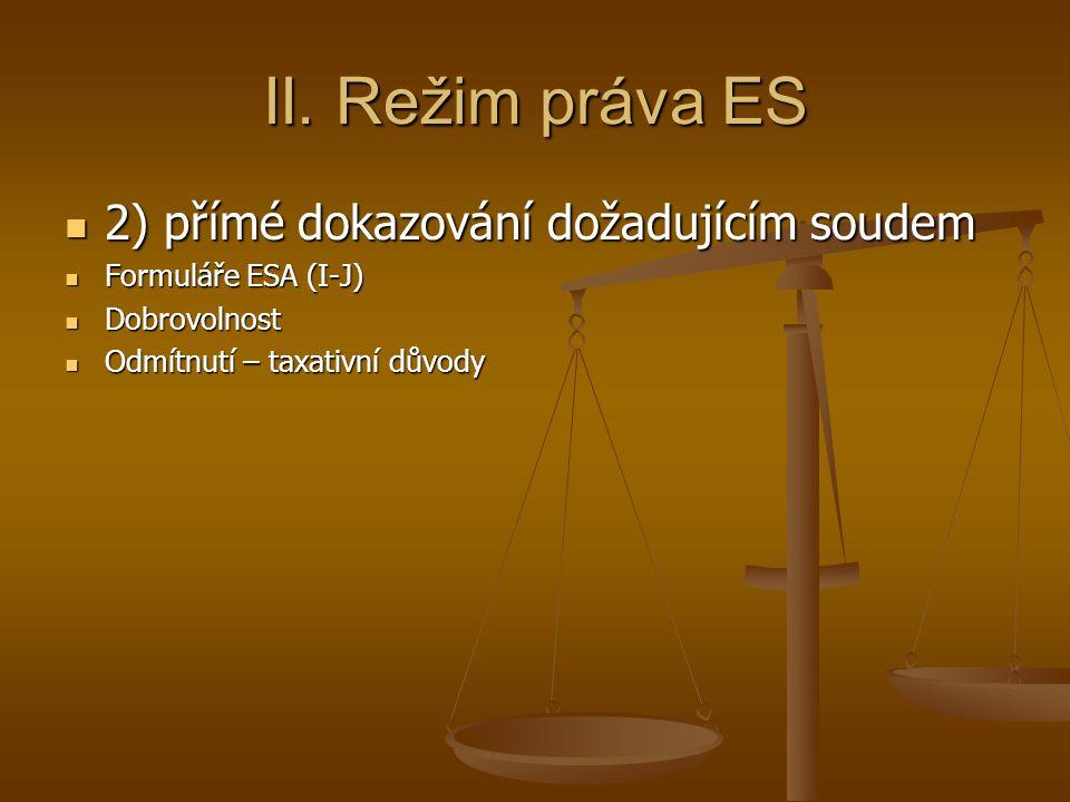 II. Režim práva ES 2) přímé dokazování dožadujícím soudem