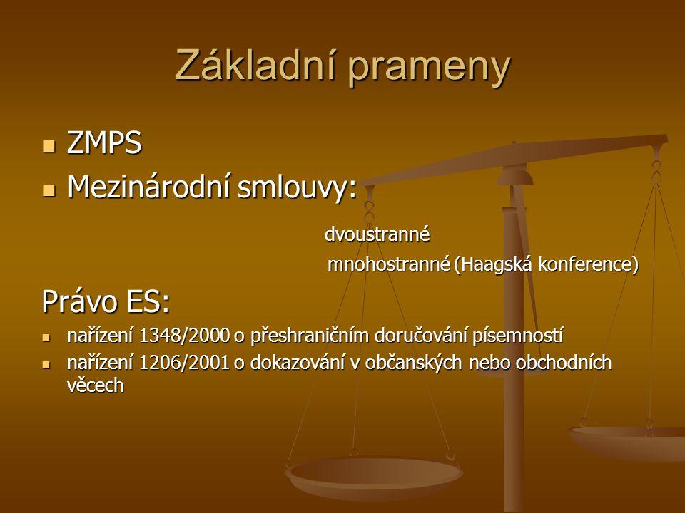 Základní prameny ZMPS Mezinárodní smlouvy: dvoustranné Právo ES: