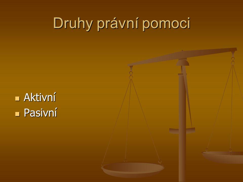 Druhy právní pomoci Aktivní Pasivní