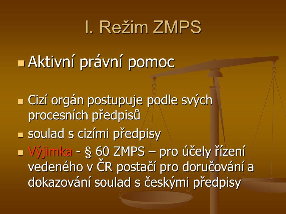 I. Režim ZMPS Aktivní právní pomoc