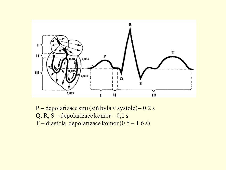 P – depolarizace síní (síň byla v systole) – 0,2 s