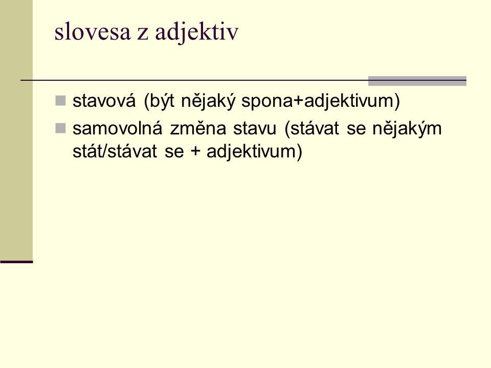slovesa z adjektiv stavová (být nějaký spona+adjektivum)