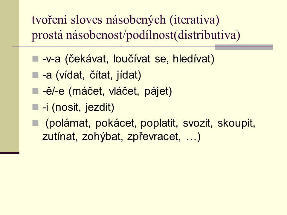 tvoření sloves násobených (iterativa) prostá násobenost/podílnost(distributiva)