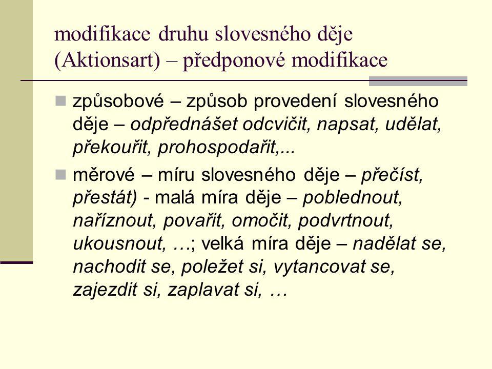 modifikace druhu slovesného děje (Aktionsart) – předponové modifikace