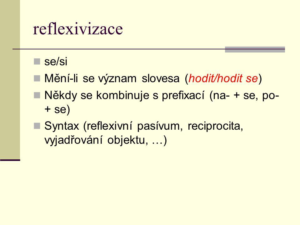 reflexivizace se/si Mění-li se význam slovesa (hodit/hodit se)