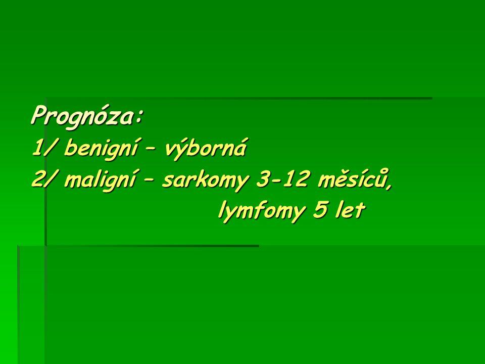 Prognóza: 1/ benigní – výborná 2/ maligní – sarkomy 3-12 měsíců,