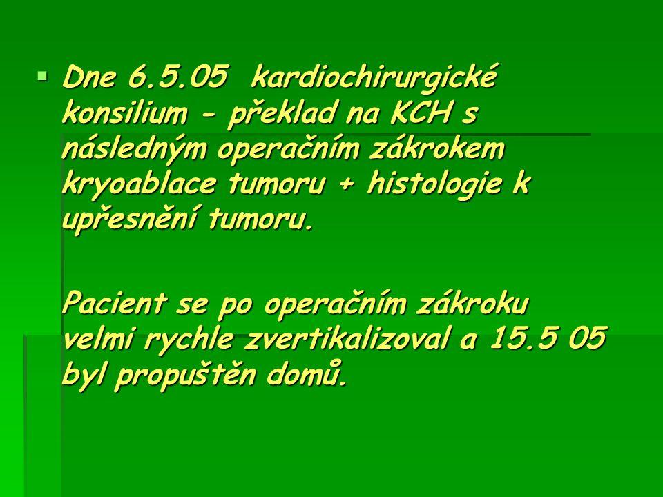 Dne 6.5.05 kardiochirurgické konsilium - překlad na KCH s následným operačním zákrokem kryoablace tumoru + histologie k upřesnění tumoru.