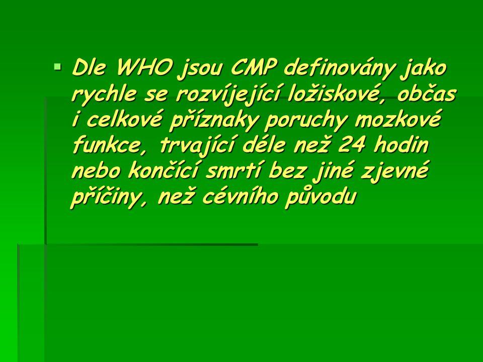 Dle WHO jsou CMP definovány jako rychle se rozvíjející ložiskové, občas i celkové příznaky poruchy mozkové funkce, trvající déle než 24 hodin nebo končící smrtí bez jiné zjevné příčiny, než cévního původu