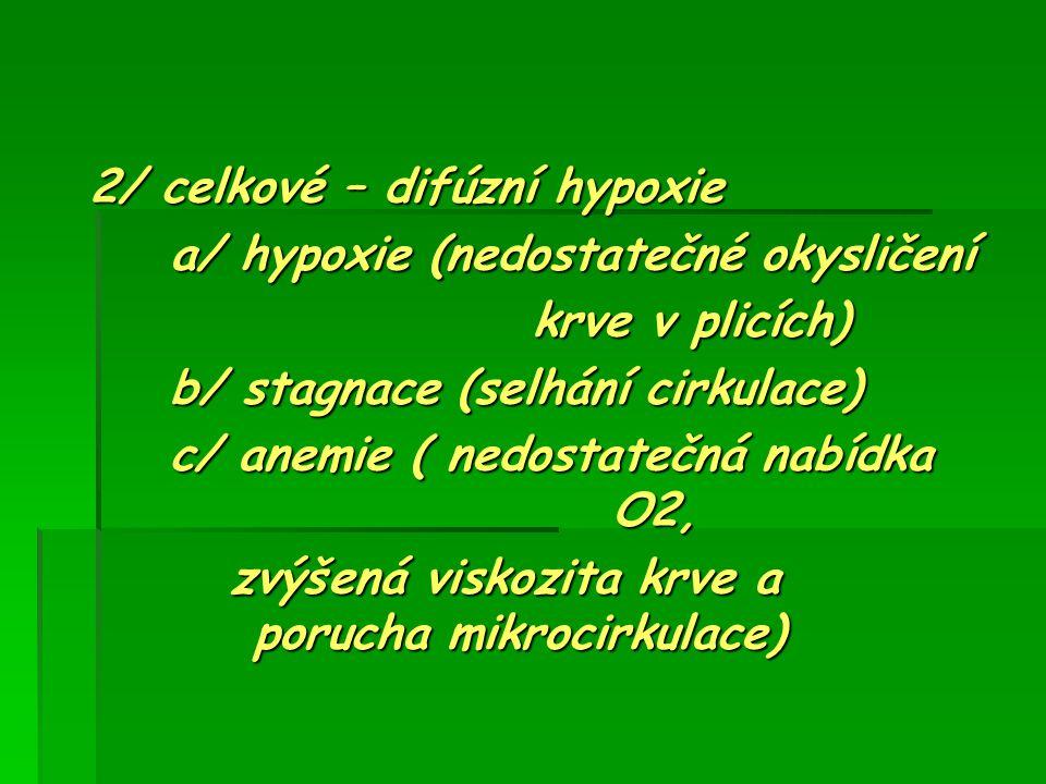 2/ celkové – difúzní hypoxie