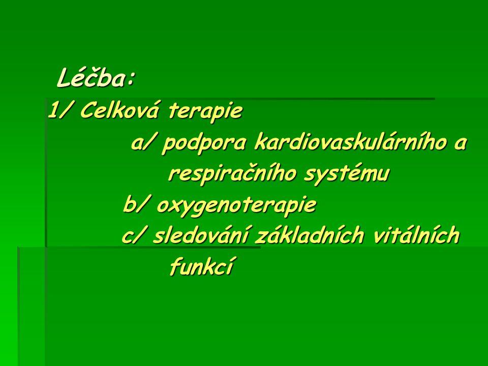 Léčba: 1/ Celková terapie a/ podpora kardiovaskulárního a