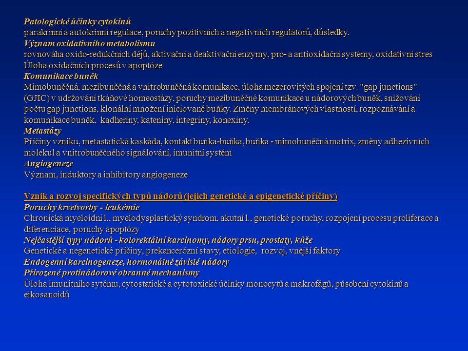 Patologické účinky cytokinů