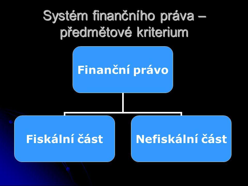 Systém finančního práva – předmětové kriterium