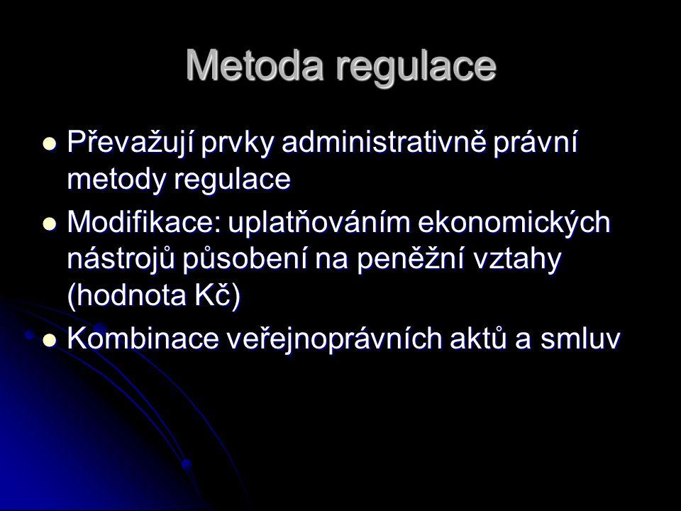Metoda regulace Převažují prvky administrativně právní metody regulace