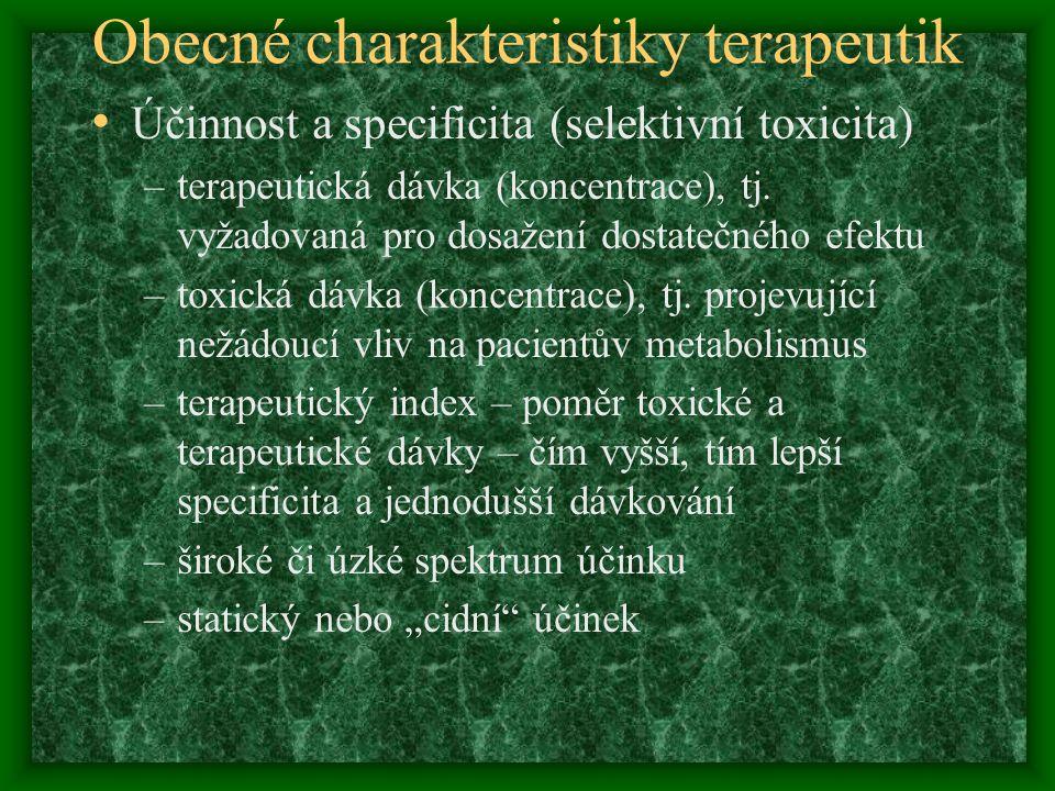 Obecné charakteristiky terapeutik