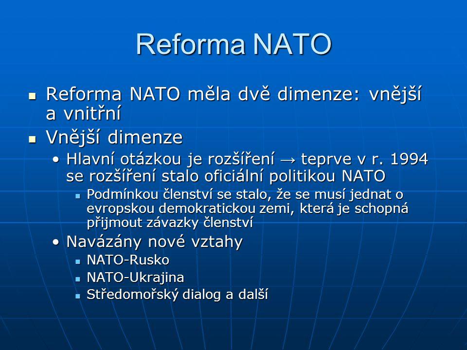 Reforma NATO Reforma NATO měla dvě dimenze: vnější a vnitřní