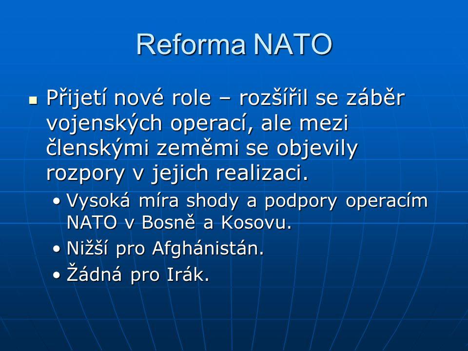 Reforma NATO Přijetí nové role – rozšířil se záběr vojenských operací, ale mezi členskými zeměmi se objevily rozpory v jejich realizaci.