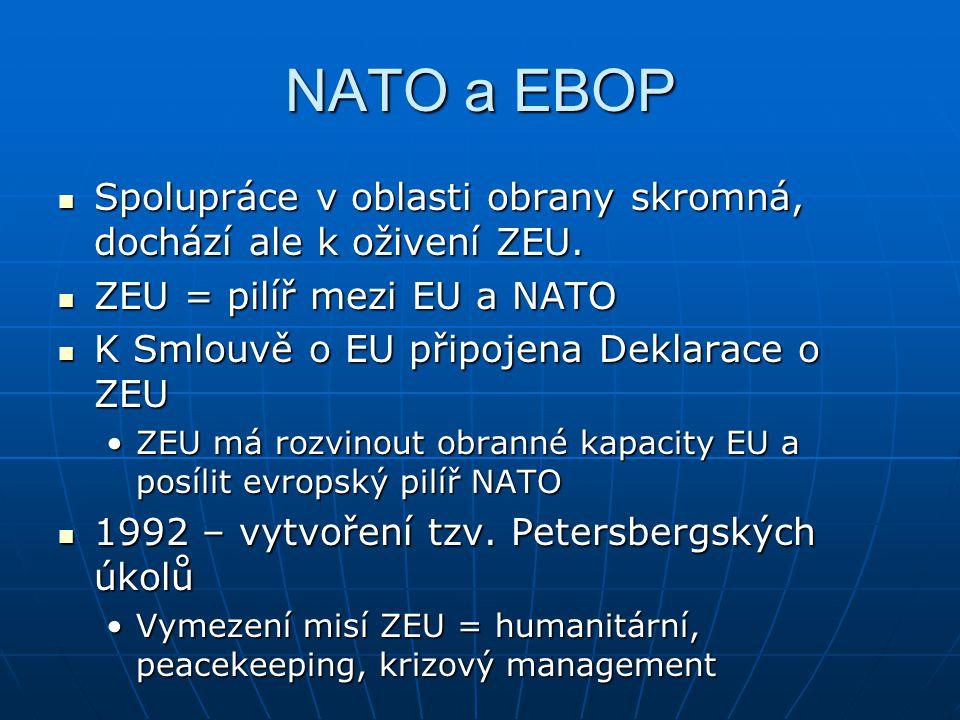 NATO a EBOP Spolupráce v oblasti obrany skromná, dochází ale k oživení ZEU. ZEU = pilíř mezi EU a NATO.