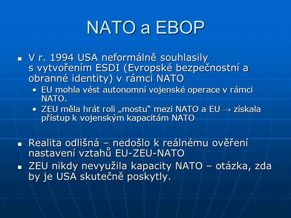 NATO a EBOP V r. 1994 USA neformálně souhlasily s vytvořením ESDI (Evropské bezpečnostní a obranné identity) v rámci NATO.