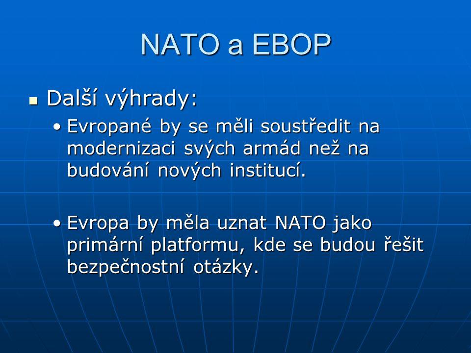 NATO a EBOP Další výhrady: