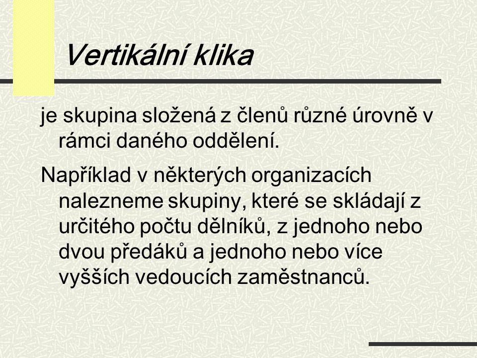 Vertikální klika je skupina složená z členů různé úrovně v rámci daného oddělení.
