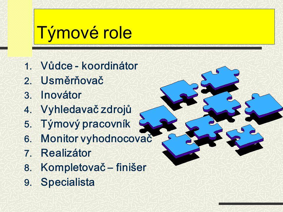 Týmové role Vůdce - koordinátor Usměrňovač Inovátor Vyhledavač zdrojů