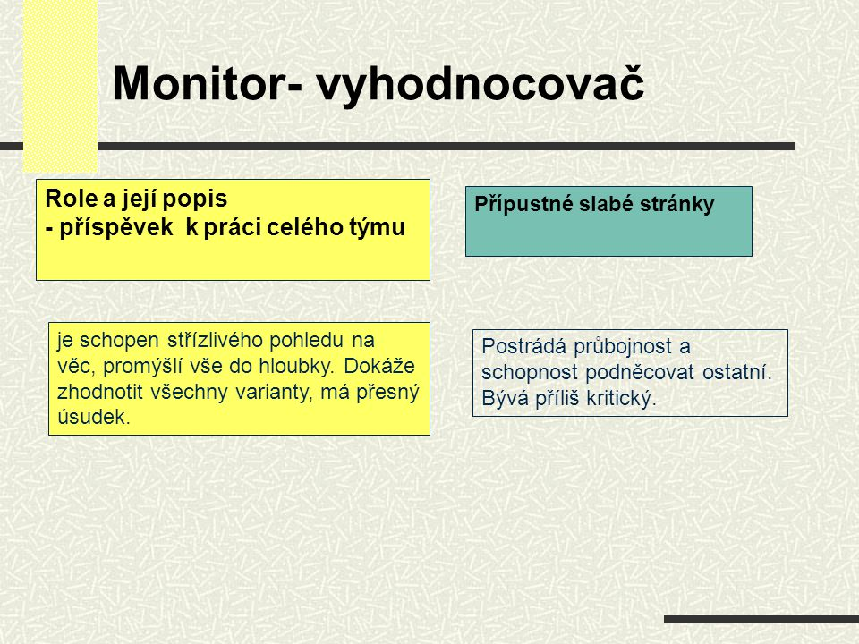 Monitor- vyhodnocovač