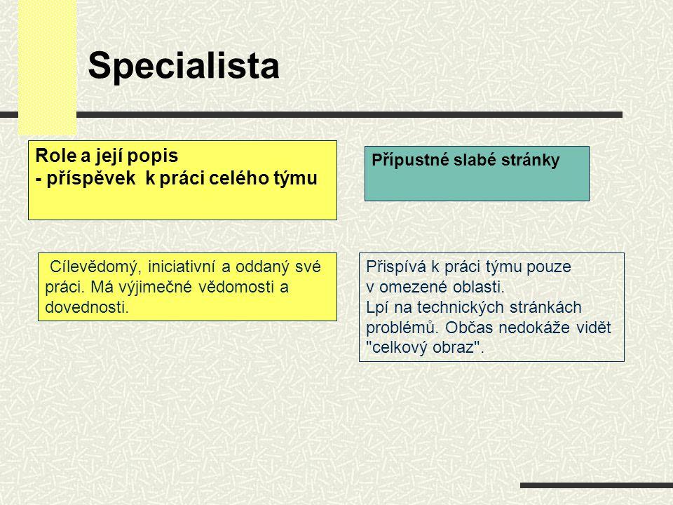 Specialista Role a její popis - příspěvek k práci celého týmu