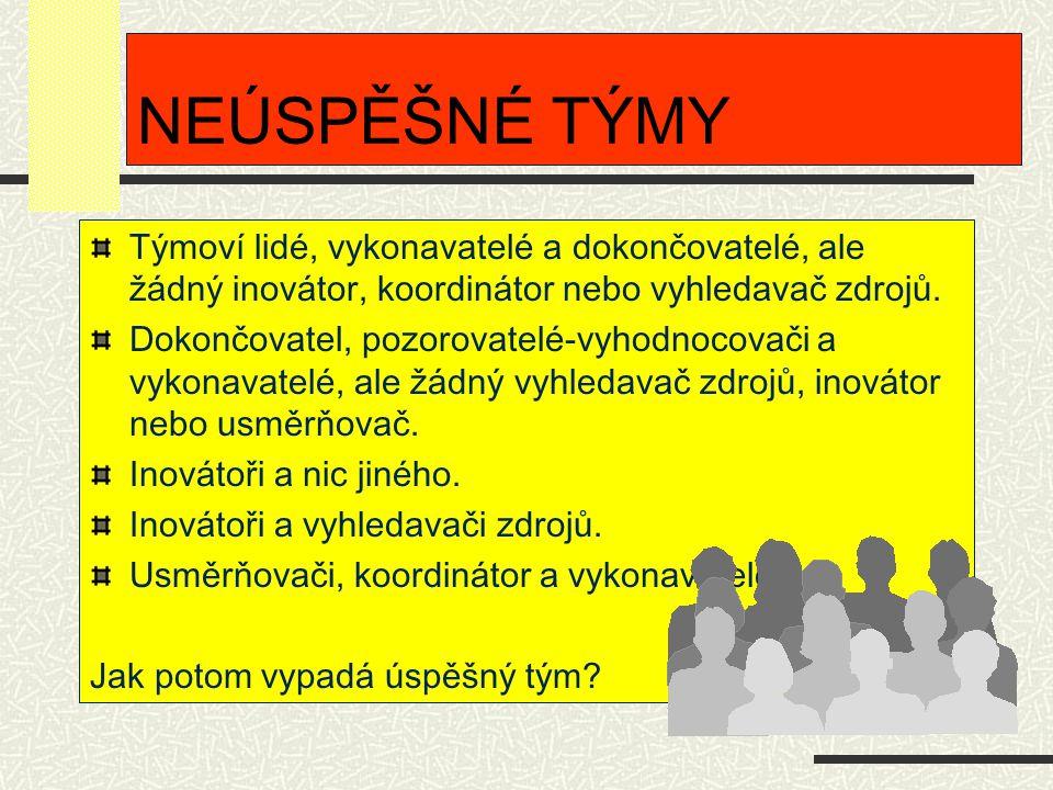 NEÚSPĚŠNÉ TÝMY Týmoví lidé, vykonavatelé a dokončovatelé, ale žádný inovátor, koordinátor nebo vyhledavač zdrojů.