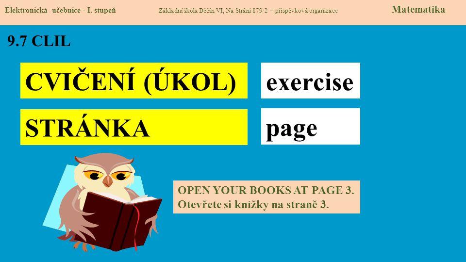CVIČENÍ (ÚKOL) exercise STRÁNKA page 9.7 CLIL