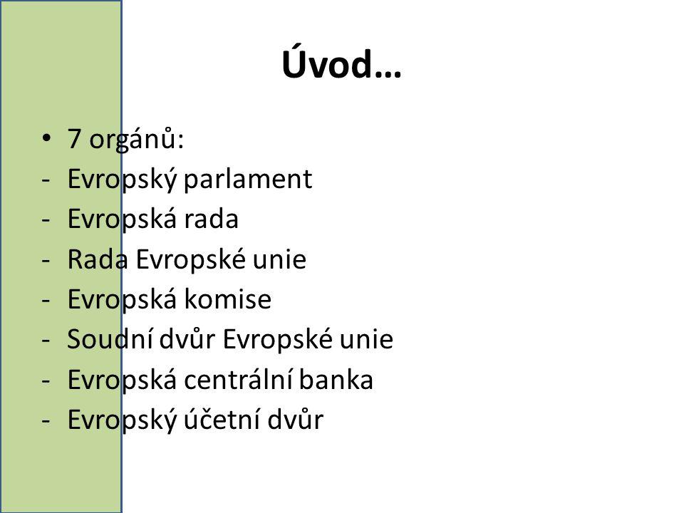 Úvod… 7 orgánů: Evropský parlament Evropská rada Rada Evropské unie
