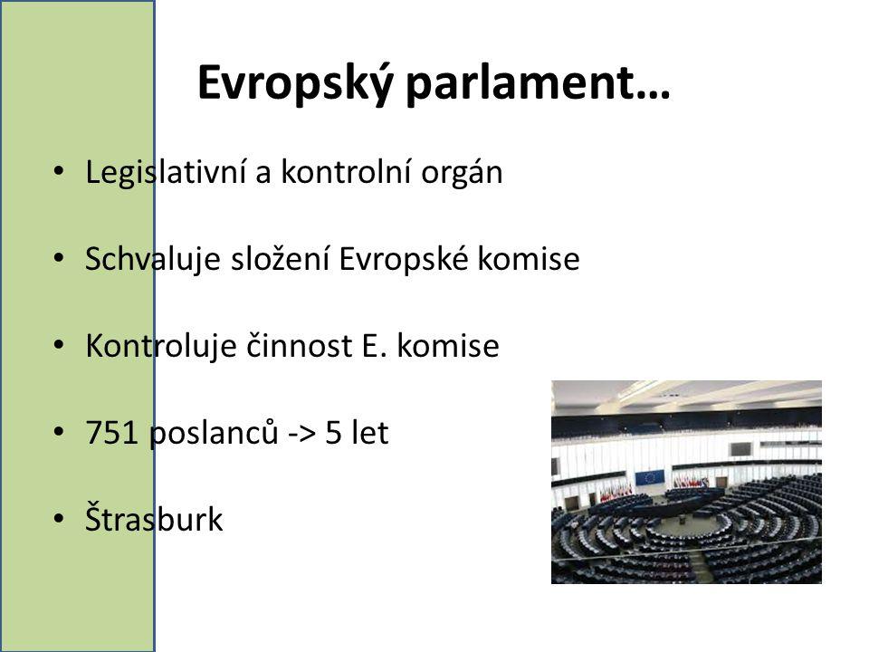 Evropský parlament… Legislativní a kontrolní orgán