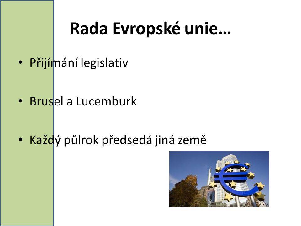 Rada Evropské unie… Přijímání legislativ Brusel a Lucemburk