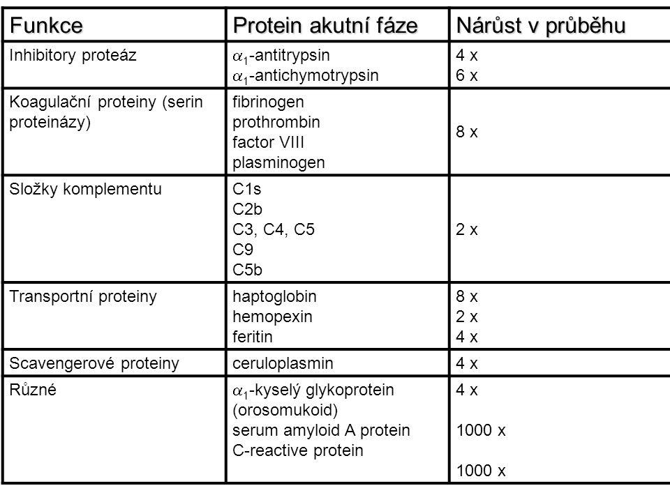 Funkce Protein akutní fáze Nárůst v průběhu Inhibitory proteáz