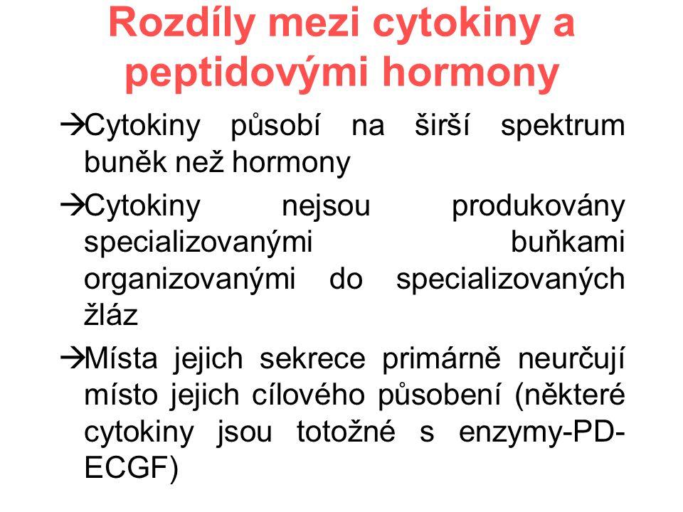 Rozdíly mezi cytokiny a peptidovými hormony