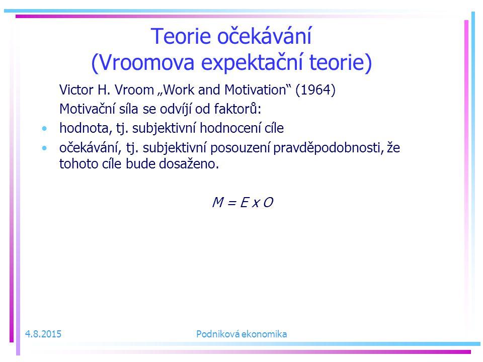 Teorie očekávání (Vroomova expektační teorie)