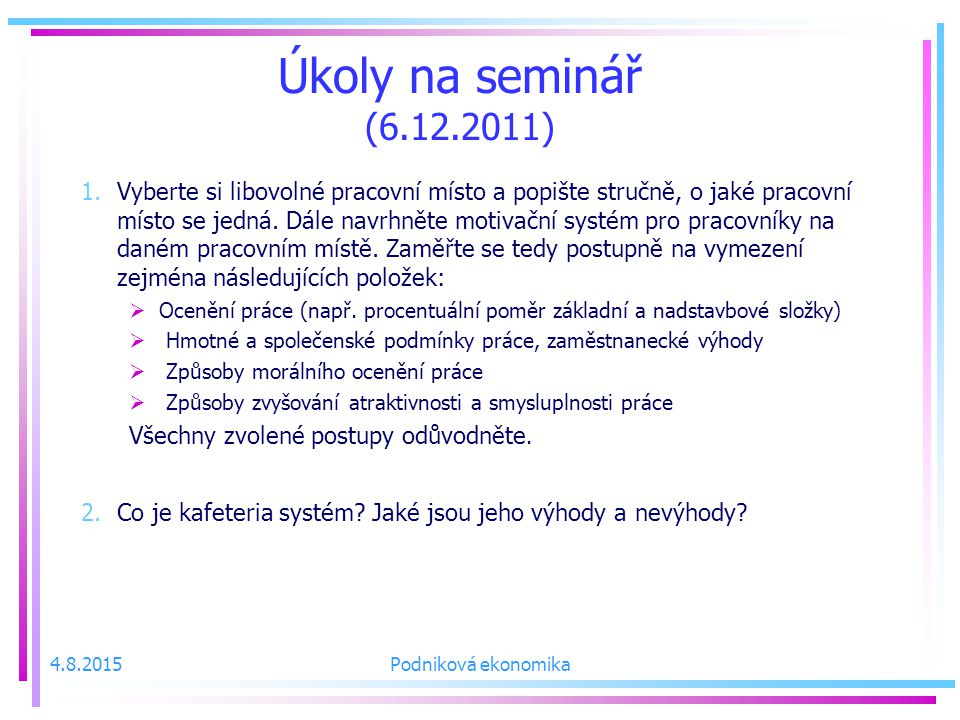 Úkoly na seminář (6.12.2011)