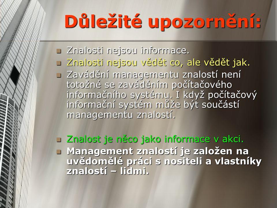 Důležité upozornění: Znalosti nejsou informace.