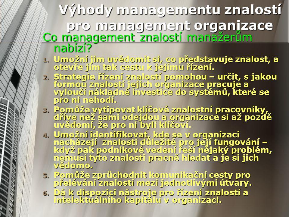 Výhody managementu znalostí pro management organizace