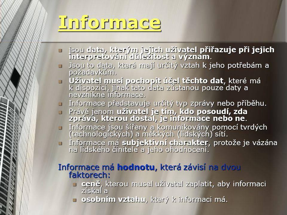 Informace Informace má hodnotu, která závisí na dvou faktorech: