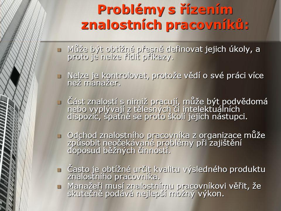 Problémy s řízením znalostních pracovníků: