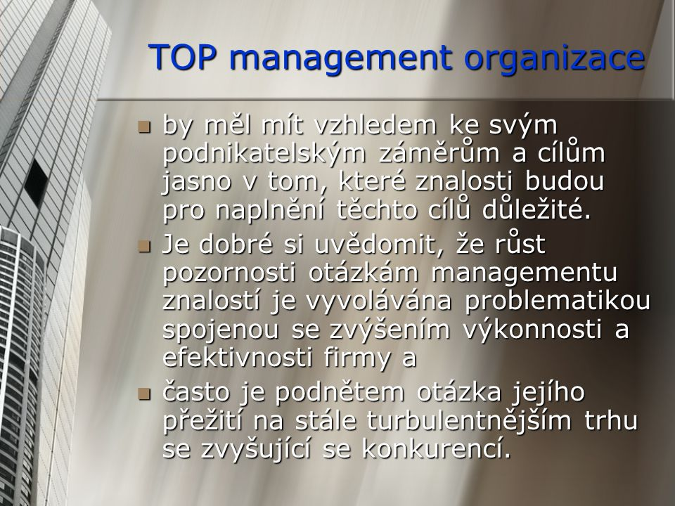 TOP management organizace
